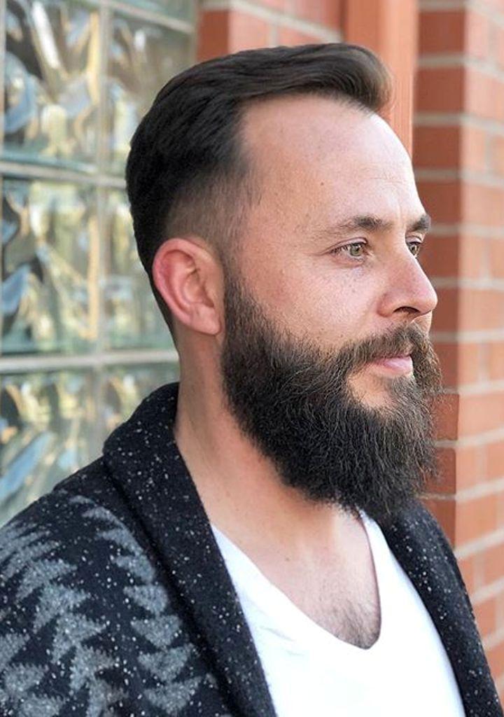 Slick Back Hair with Full Beard