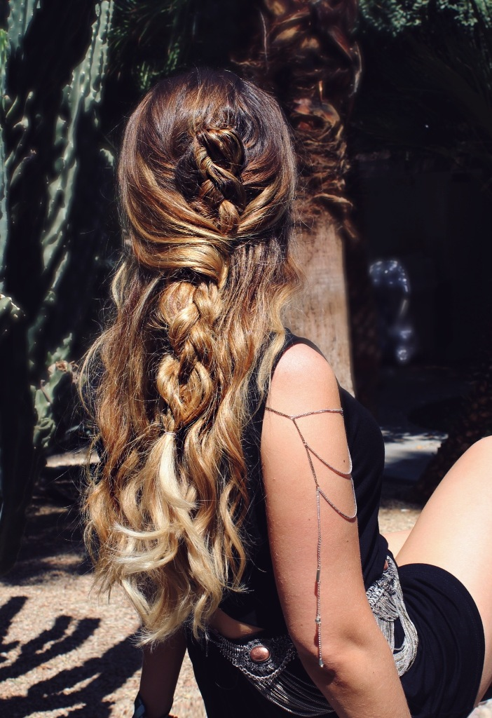 Waterfall Hairstyle With Twisted Flower Bun