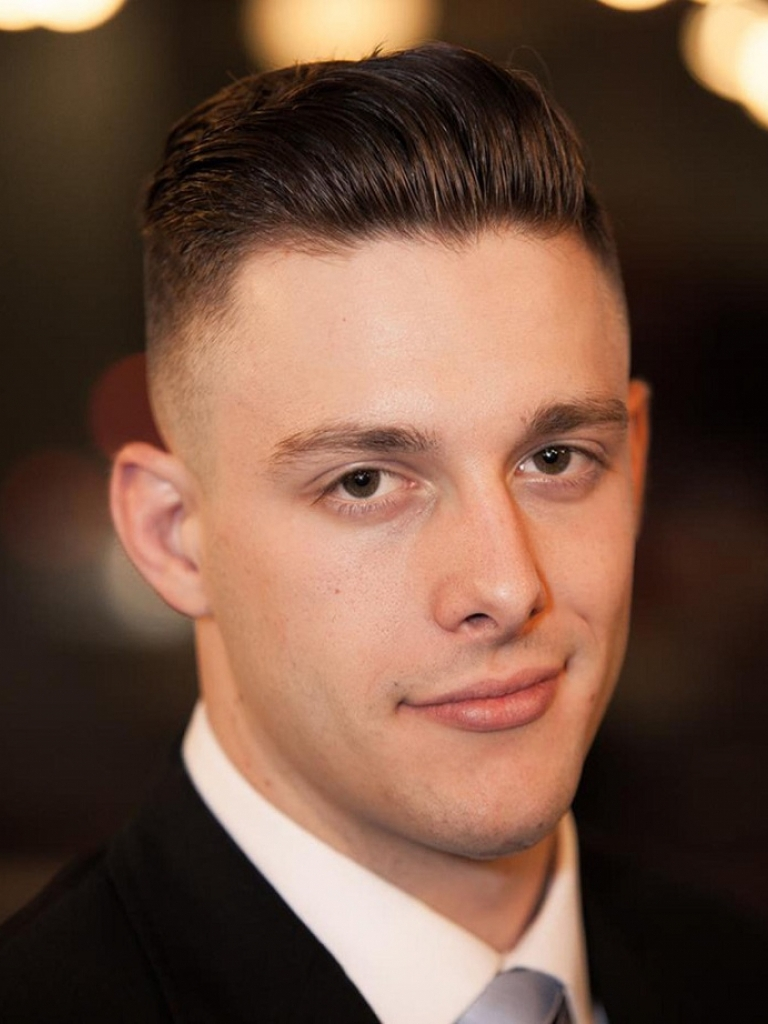 Slick Back Fade Haircut For Round Face Men