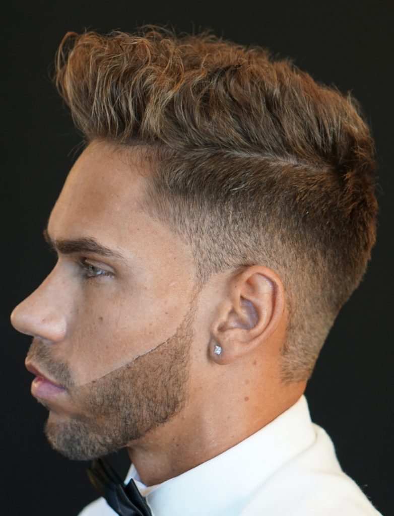 Low Sharp Fade Messy Short Hair (Left Side View)