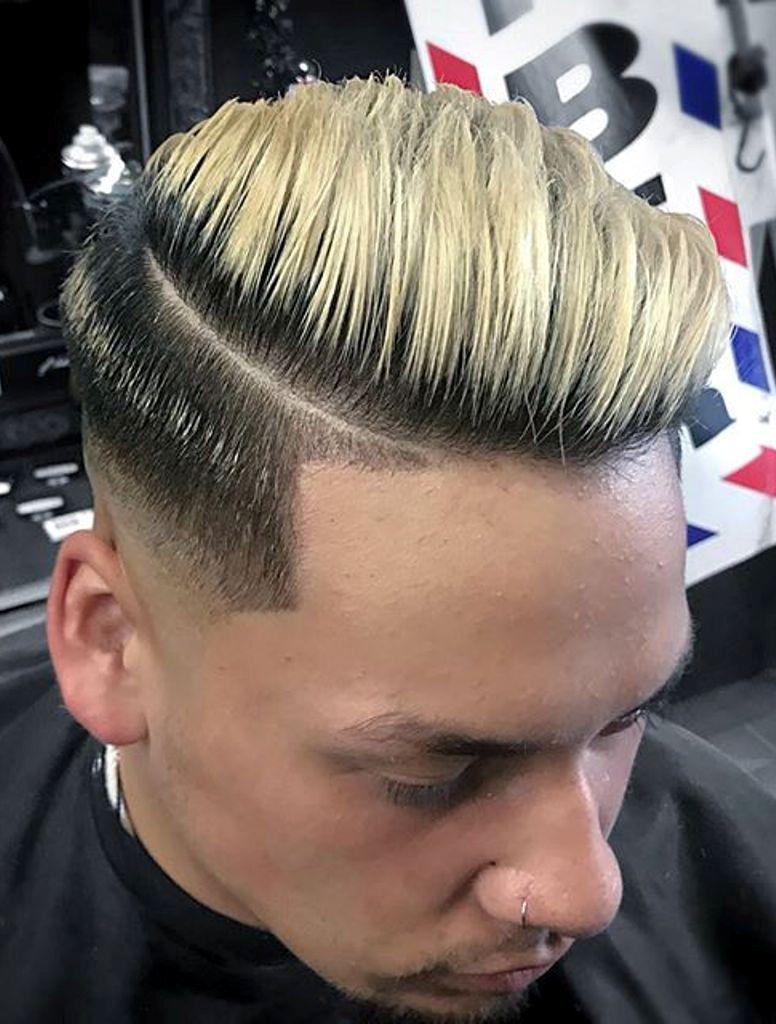 Blonde Sharp Side Part Slick Back