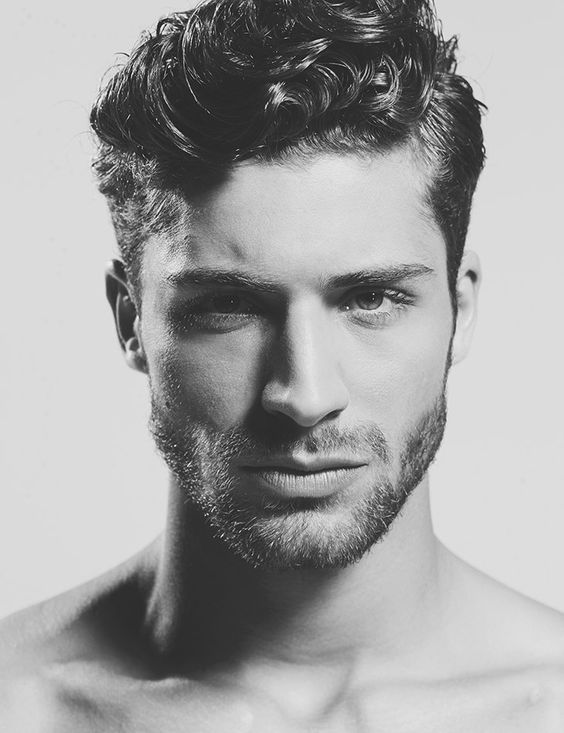 Mens Curly Hairstyles With Short Stubble Beard