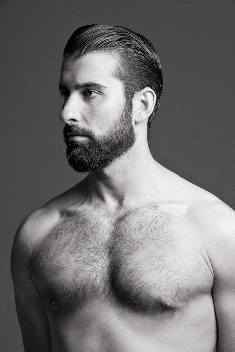Medium Slick Back Haircut With Goatee Beard