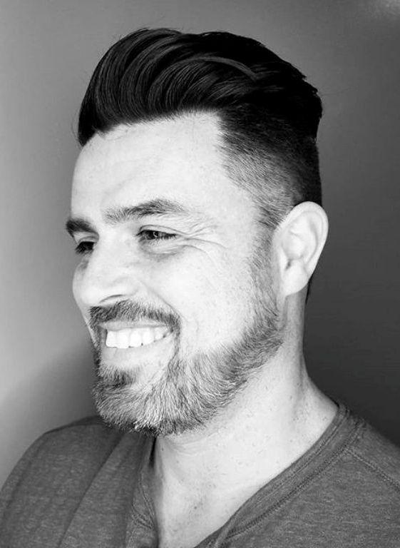 Pompadour Faded Haircut with Medium Beard