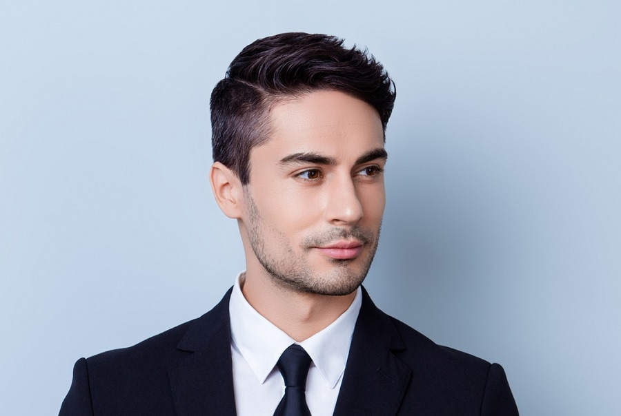 business hairstyle with side part
