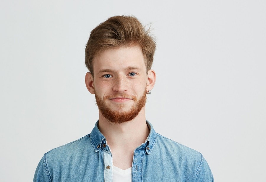 pompadour with thick blonde hair for men