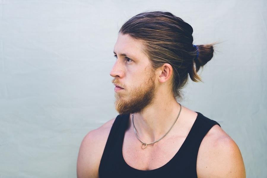 man bun with thick hair