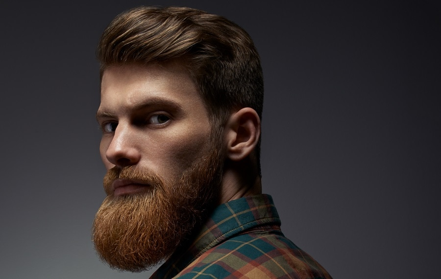 thick red hair with ginger beard