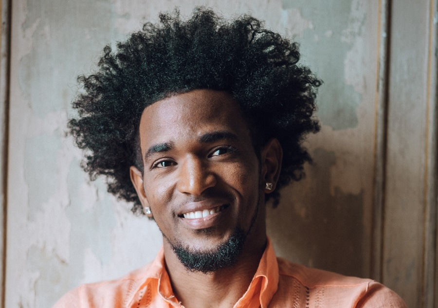 long afro hair with chinstrap beard