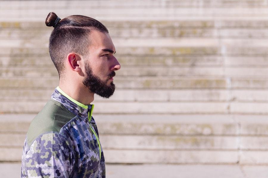man bun with thick beard