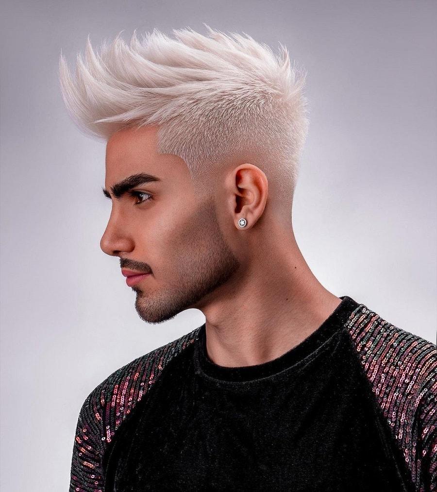 spiky quiff with platinum blonde hair