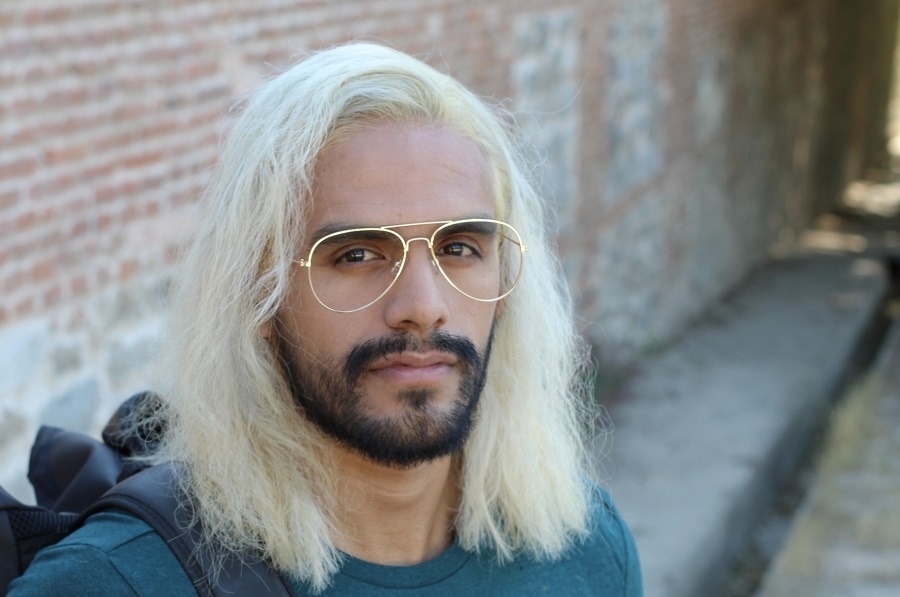 long blonde hair with side part for men
