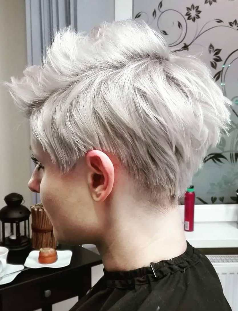 Pixie Cut with Silver Blond Hair
