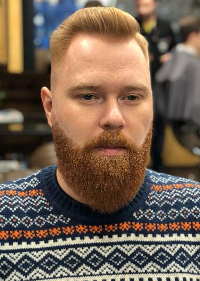 Comb Over Fade with Full Beard