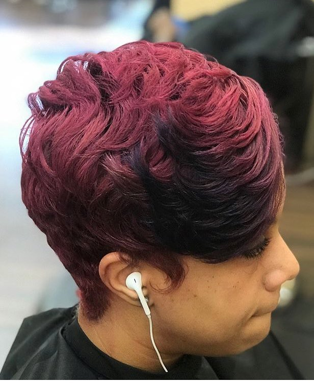 Pixie Cut with Red Hair Color