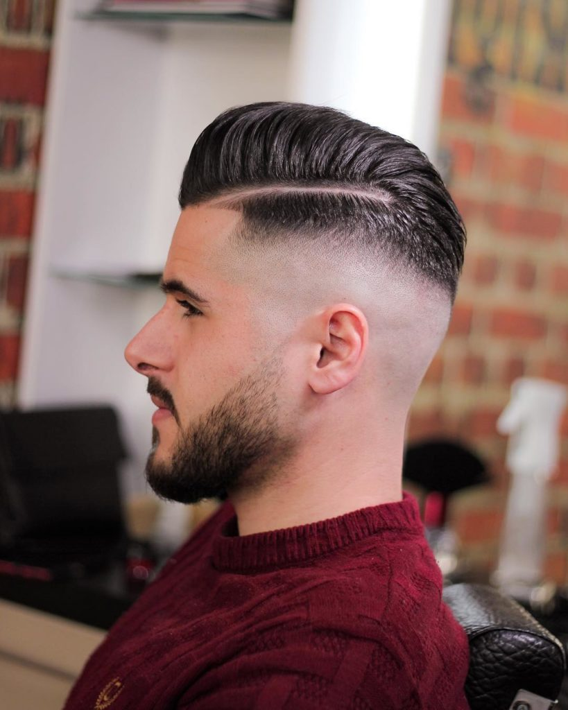 Razor Side Part Slick Back Haircut