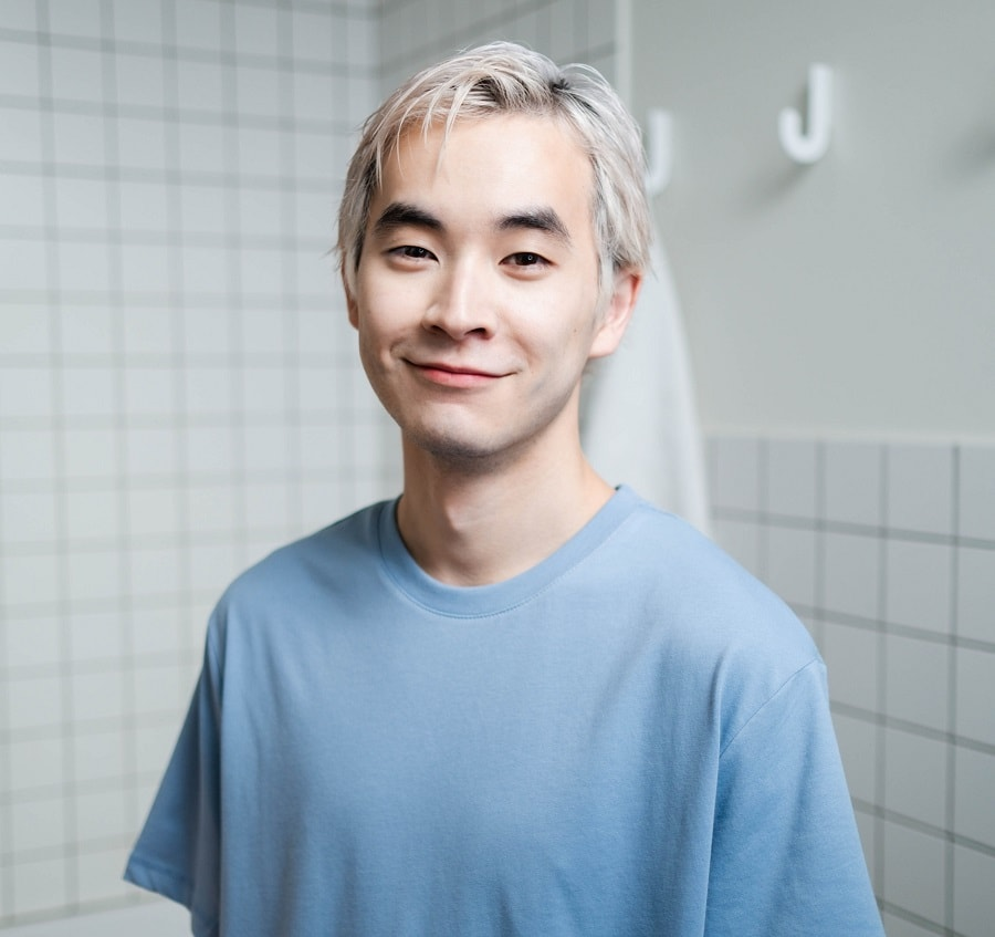 Asian guy with blonde hairstyle