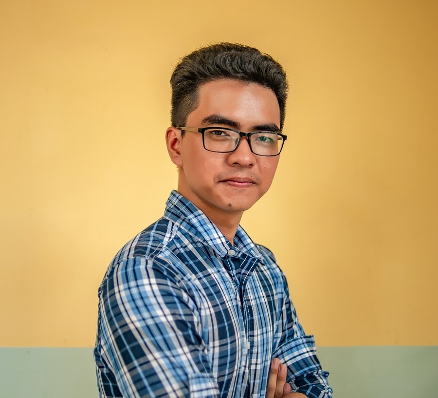 Asian guy with short hair
