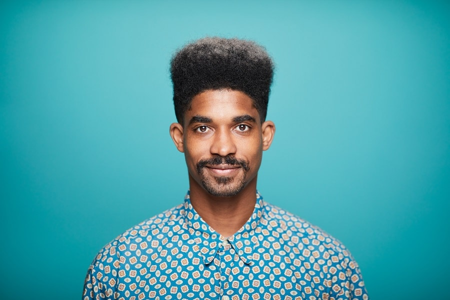 black man with afro hair