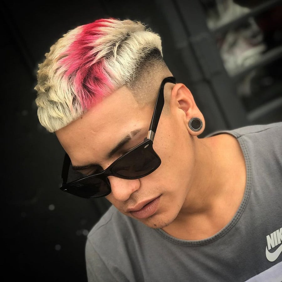 funky colored hairstyle for men