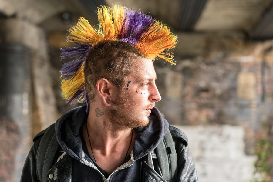 mens mohawk with colorful stripes