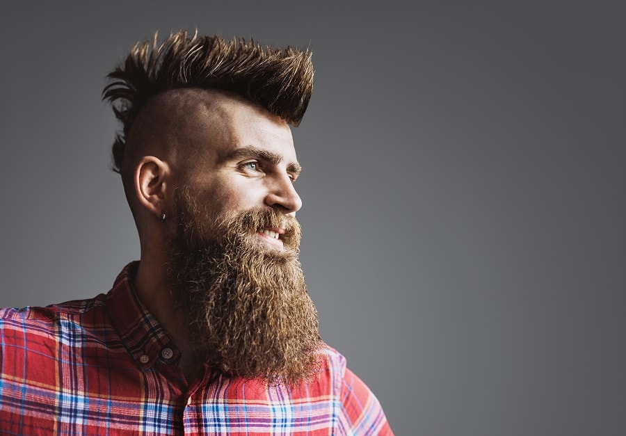mens mohawk hairstyle with beard