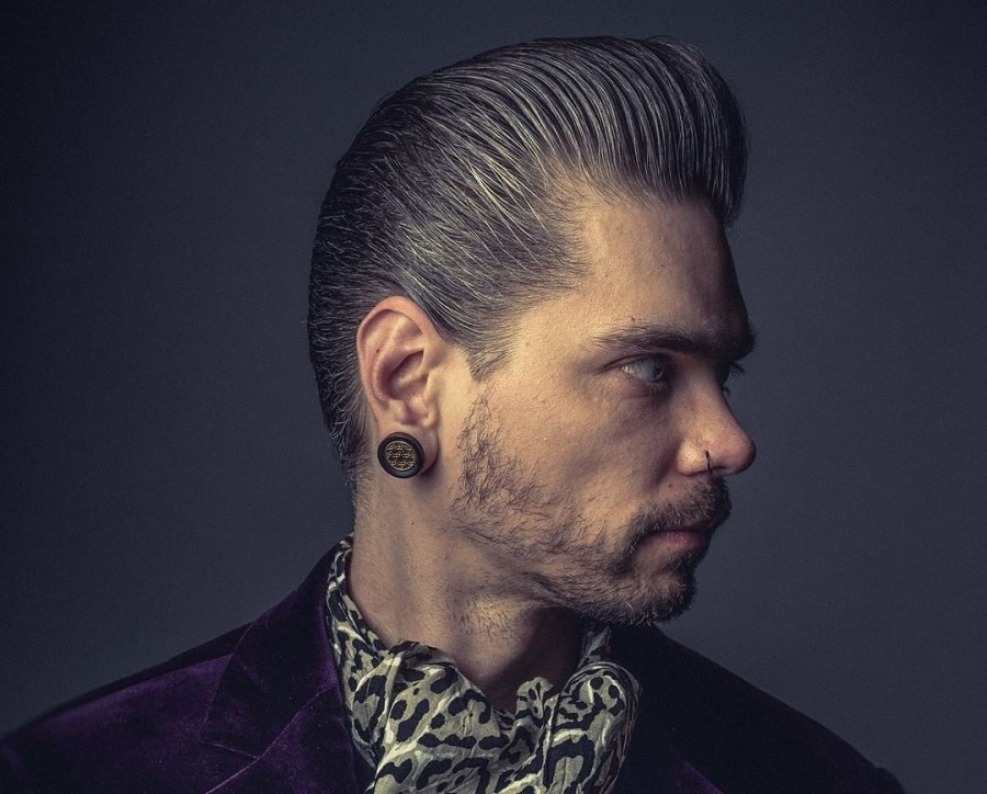 mens pompadour with slick back hairstyle