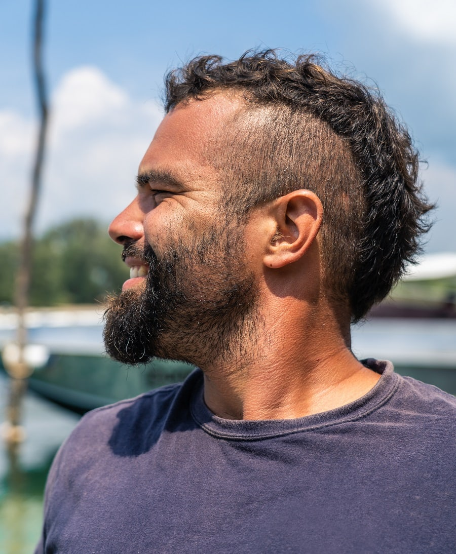 mens mohawk hairstyle with short curly hair
