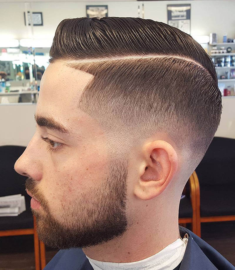 Fade Haircut with Hard Part