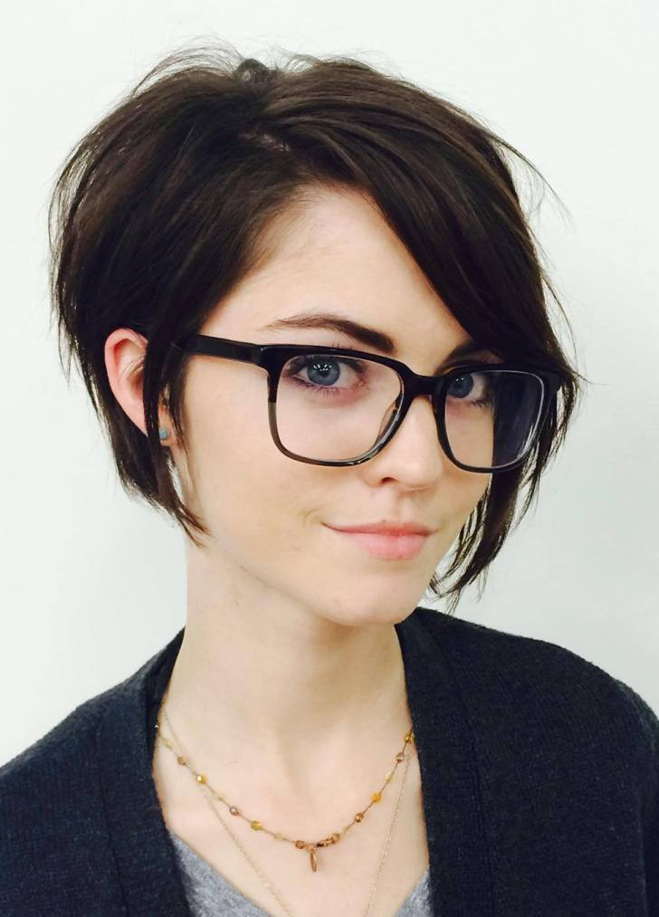 Layered Side Fringe with Glasses