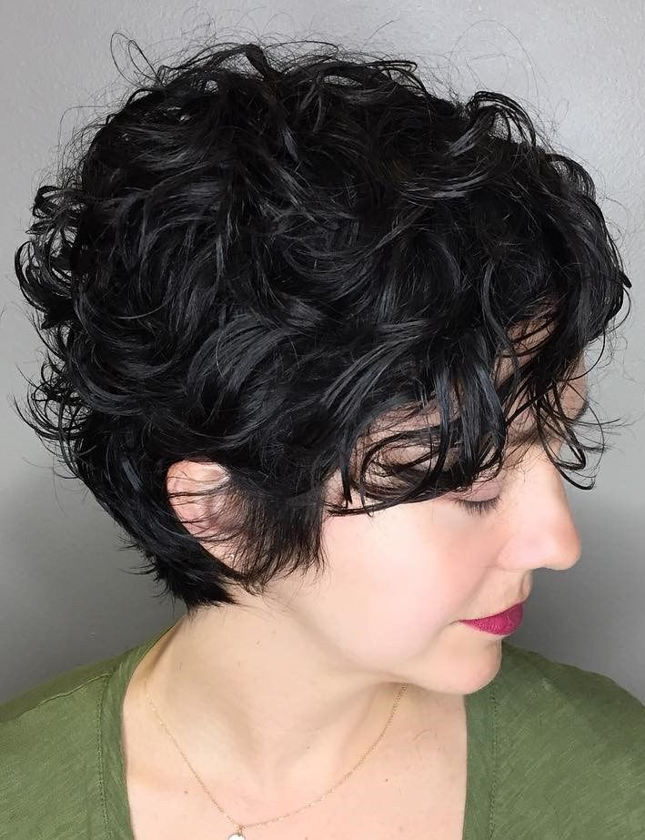 Black Pixie With Messy Curls