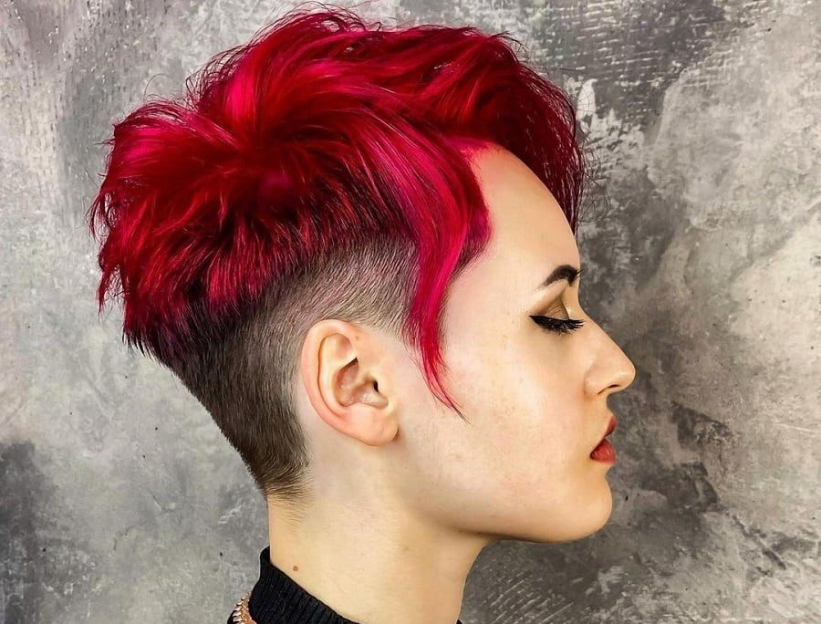 undercut with red short choppy hair