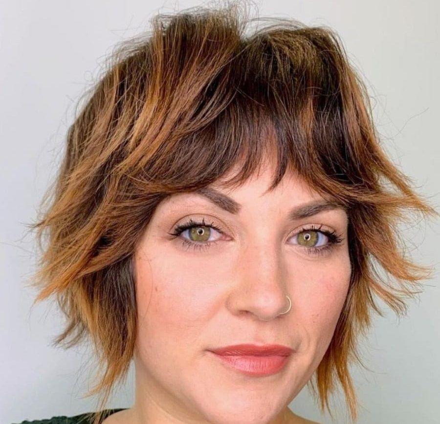 short choppy hair with highlights