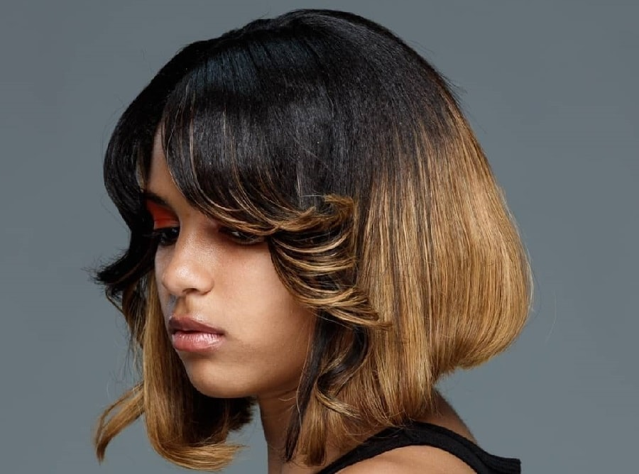 ombre bob with feathered bangs