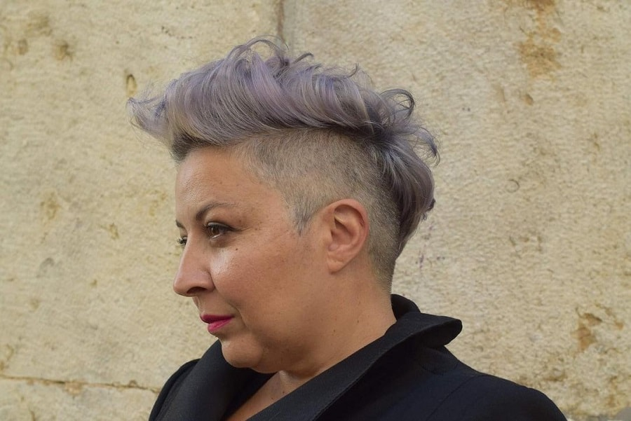 woman with short hair and double chin