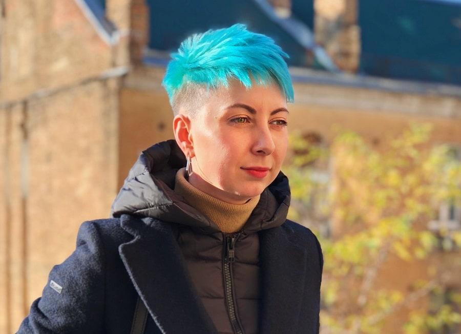 blue short pixie cut