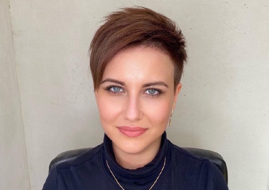 short pixie with long side bangs