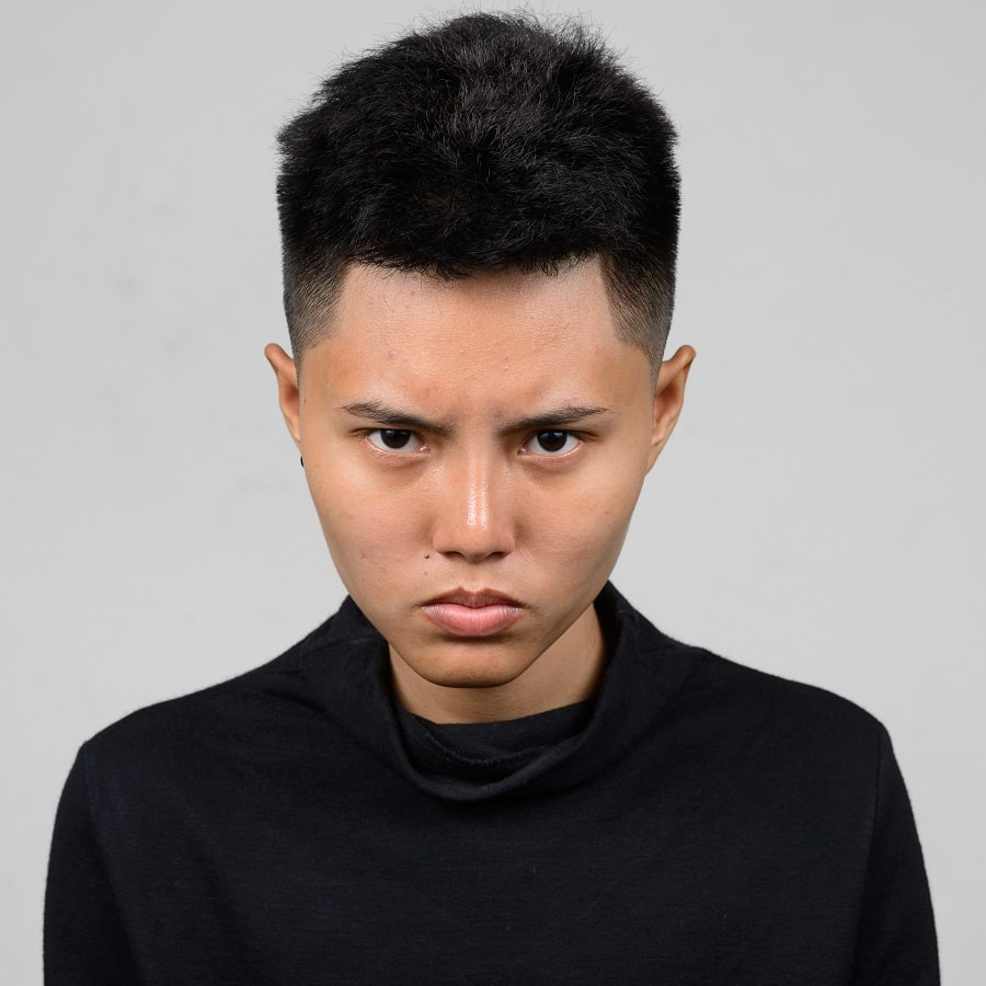 Asian girl with short tomboy hairstyle