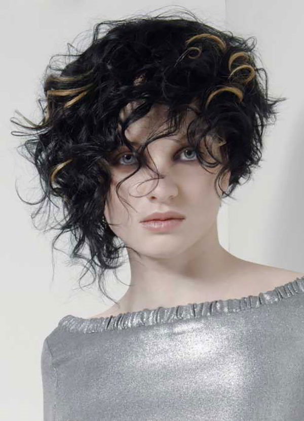 Curly Asymmetrical Short Hairstyle