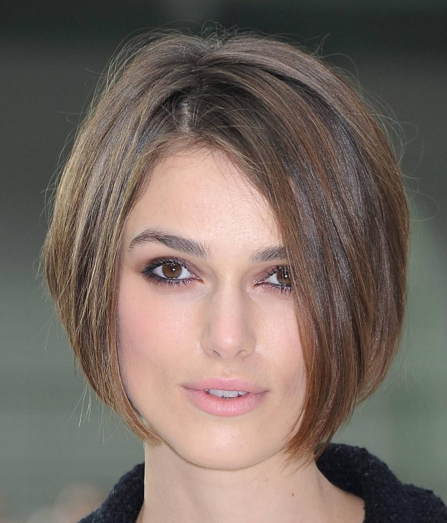 Inverted Bob Short Hairstyle For Round Face
