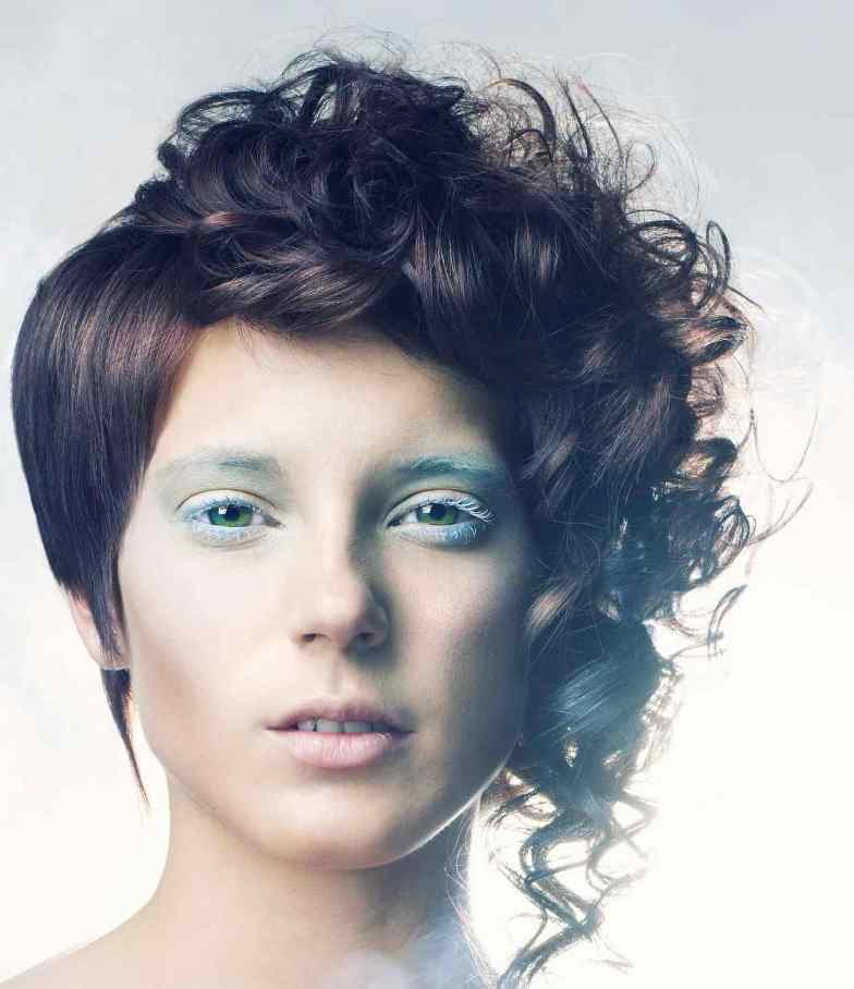 Partly Straight Curly Asymmetrical Short Hairstyle