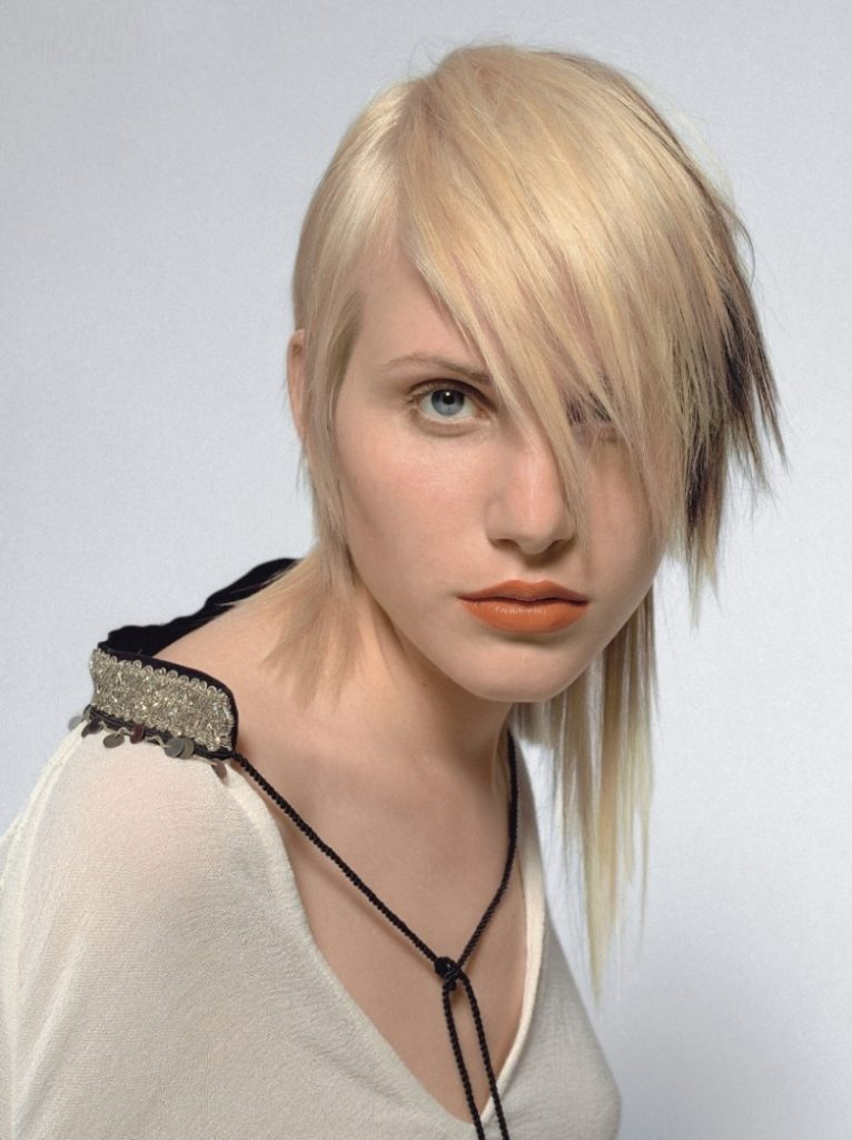 Asymmetrical Short Hairstyle with Full Bangs