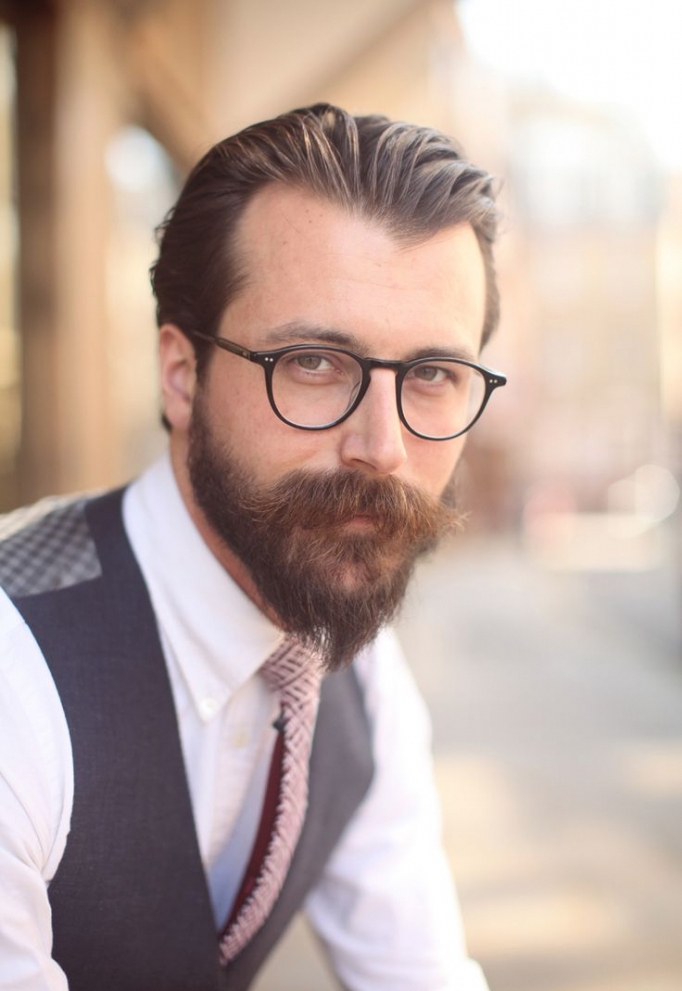 Slick Back Haircut with Full Beard