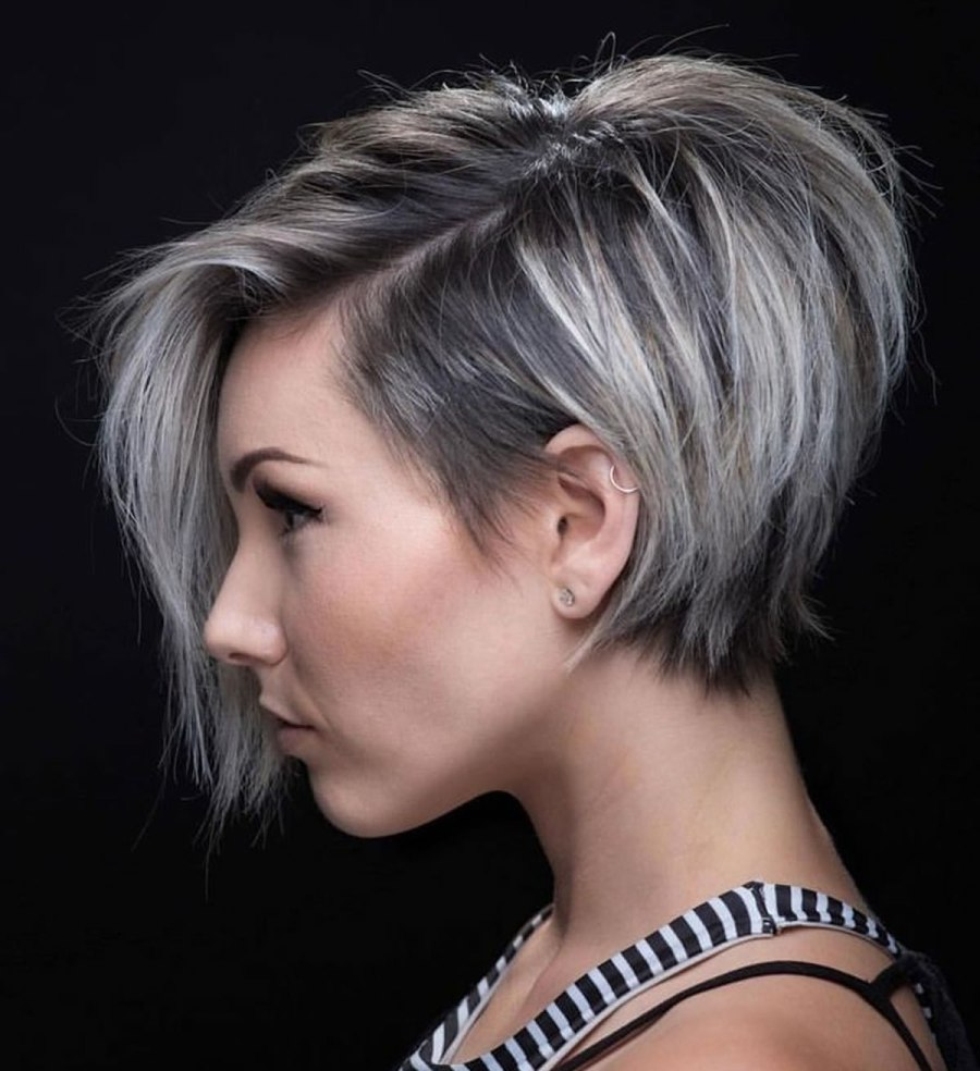 Side Part Asymmetric Short Haircut