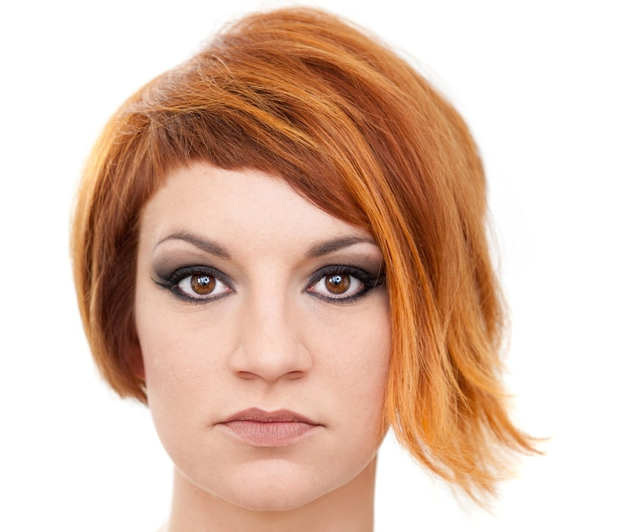 asymmetrical short red hairstyle