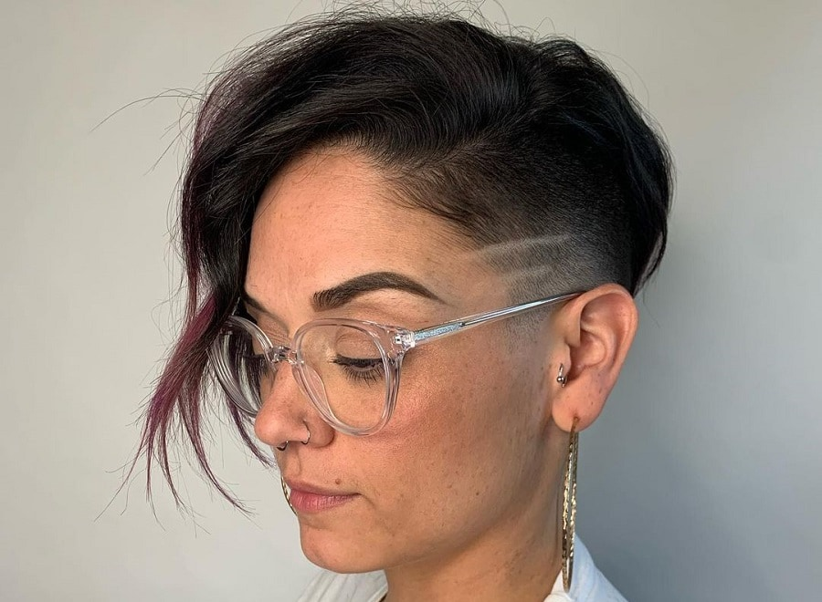 short asymmetrical hairstyle with design