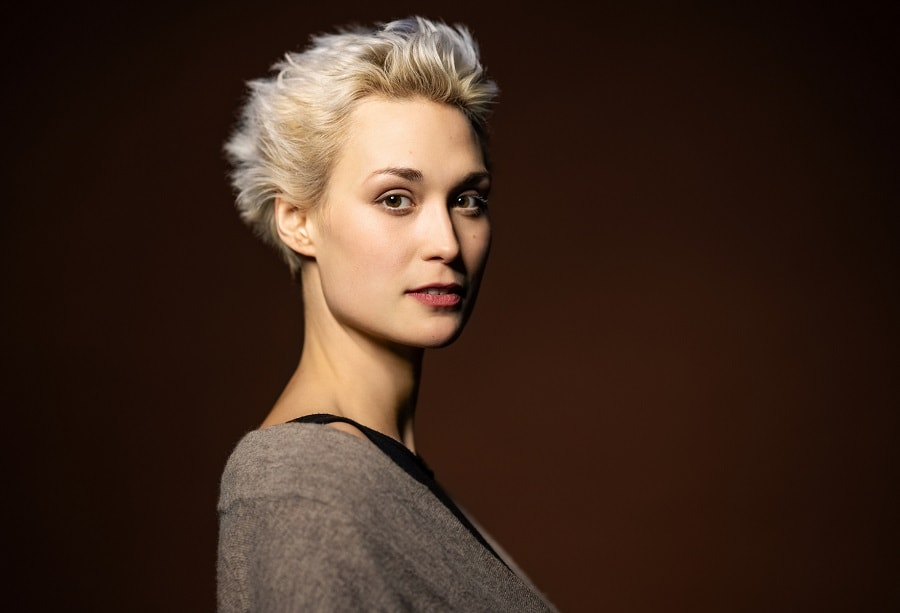 woman with short silver blonde hair