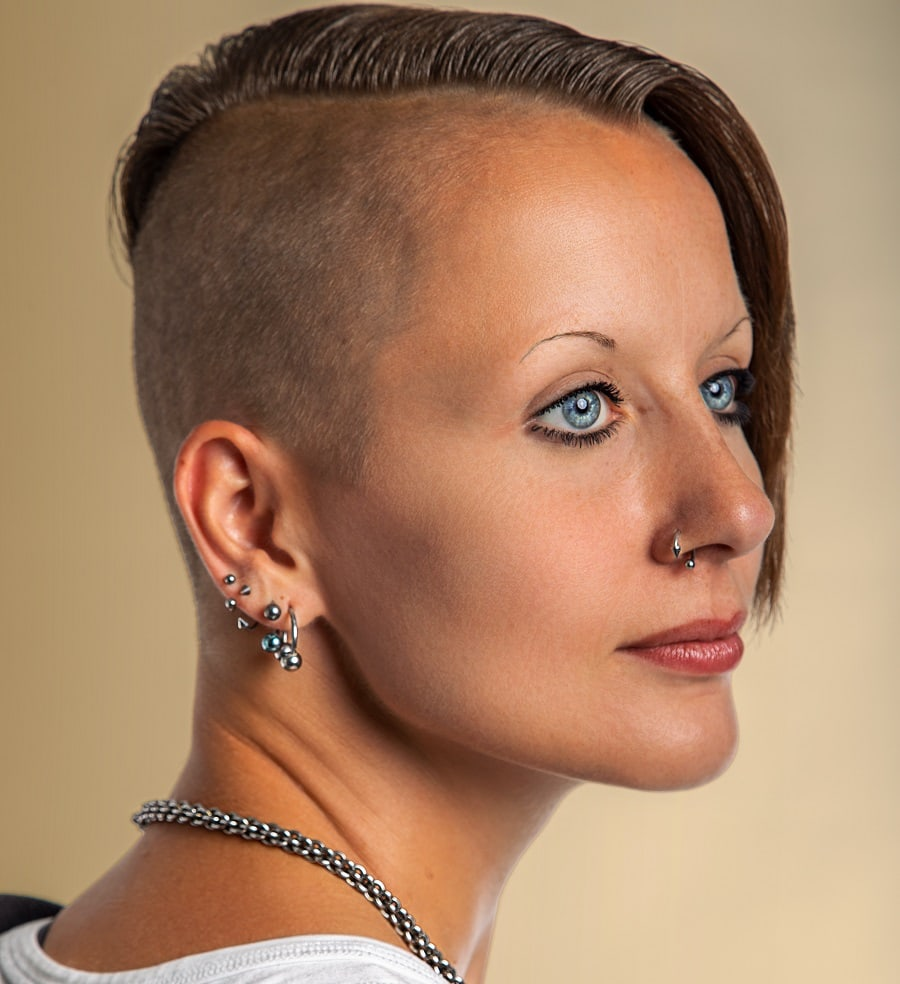 sleek short crop hair with shaved side