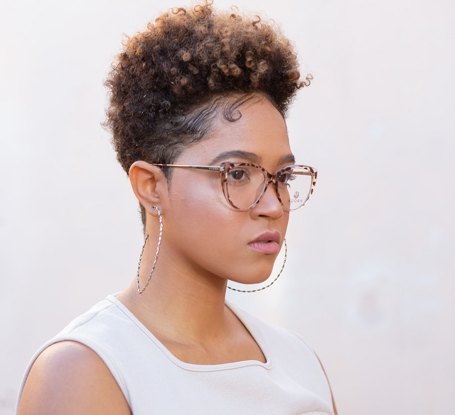 short crop afro hair with highlights