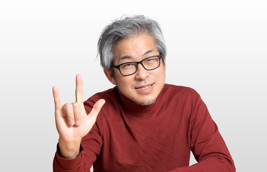 Asian guy with grey hairstyle